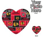 Chicago Blackhawks Nhl Block Fleece Fabric Playing Cards 54 (Heart)  Front - Joker1