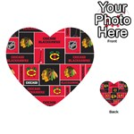 Chicago Blackhawks Nhl Block Fleece Fabric Playing Cards 54 (Heart)  Back