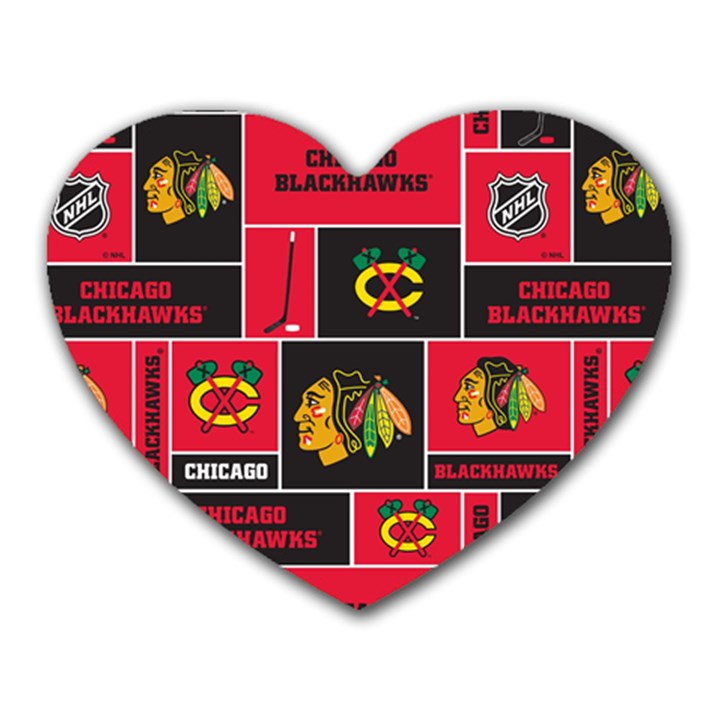 Chicago Blackhawks Nhl Block Fleece Fabric Heart Mousepads