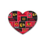 Chicago Blackhawks Nhl Block Fleece Fabric Rubber Coaster (Heart)  Front