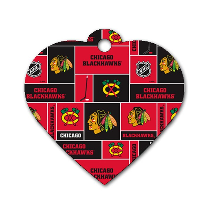 Chicago Blackhawks Nhl Block Fleece Fabric Dog Tag Heart (One Side)