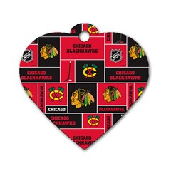 Chicago Blackhawks Nhl Block Fleece Fabric Dog Tag Heart (Two Sides)
