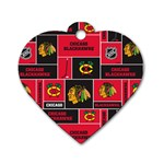 Chicago Blackhawks Nhl Block Fleece Fabric Dog Tag Heart (Two Sides) Front
