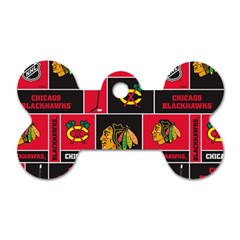 Chicago Blackhawks Nhl Block Fleece Fabric Dog Tag Bone (One Side)