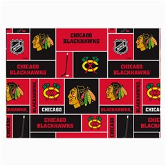 Chicago Blackhawks Nhl Block Fleece Fabric Large Glasses Cloth