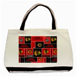 Chicago Blackhawks Nhl Block Fleece Fabric Basic Tote Bag (Two Sides) Back