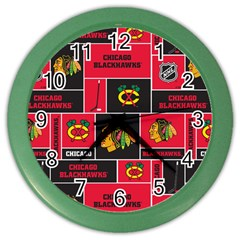 Chicago Blackhawks Nhl Block Fleece Fabric Color Wall Clocks