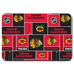 Chicago Blackhawks Nhl Block Fleece Fabric Large Doormat