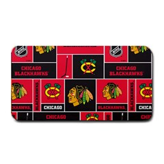 Chicago Blackhawks Nhl Block Fleece Fabric Medium Bar Mats