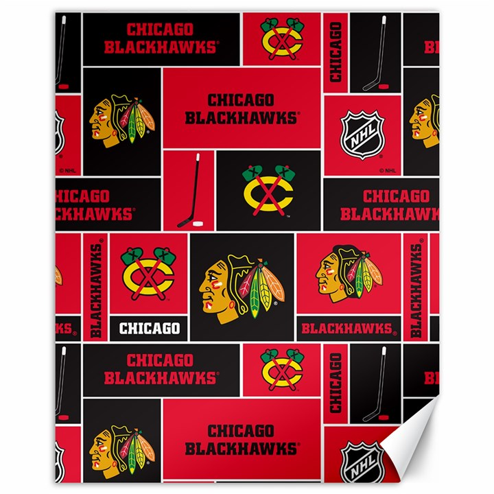 Chicago Blackhawks Nhl Block Fleece Fabric Canvas 11  x 14