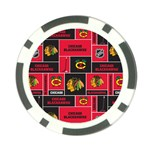 Chicago Blackhawks Nhl Block Fleece Fabric Poker Chip Card Guards Back