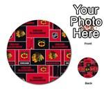 Chicago Blackhawks Nhl Block Fleece Fabric Multi-purpose Cards (Round)  Back 44