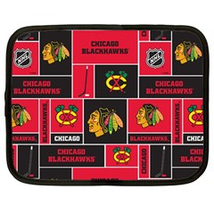 Chicago Blackhawks Nhl Block Fleece Fabric Netbook Case (Large)