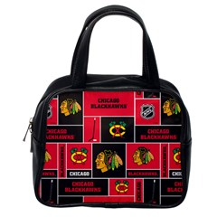 Chicago Blackhawks Nhl Block Fleece Fabric Classic Handbags (One Side)