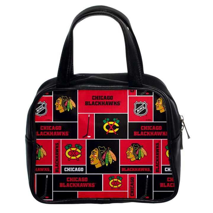 Chicago Blackhawks Nhl Block Fleece Fabric Classic Handbags (2 Sides)
