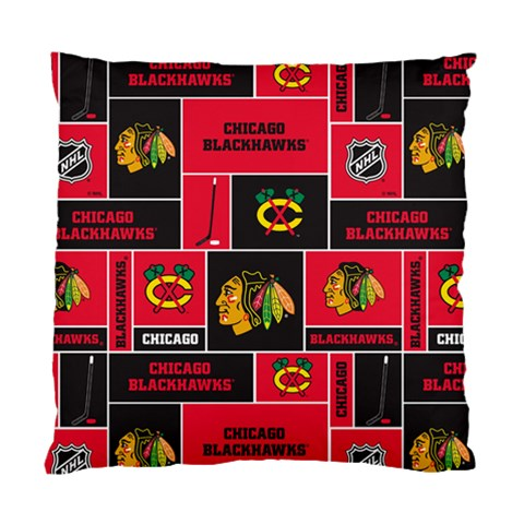 Chicago Blackhawks Nhl Block Fleece Fabric Standard Cushion Case (Two Sides)