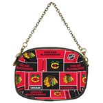 Chicago Blackhawks Nhl Block Fleece Fabric Chain Purses (Two Sides)  Back