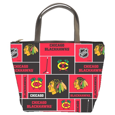 Chicago Blackhawks Nhl Block Fleece Fabric Bucket Bags
