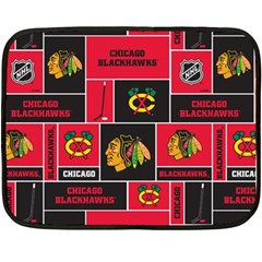 Chicago Blackhawks Nhl Block Fleece Fabric Double Sided Fleece Blanket (Mini)
