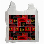 Chicago Blackhawks Nhl Block Fleece Fabric Recycle Bag (One Side) Front