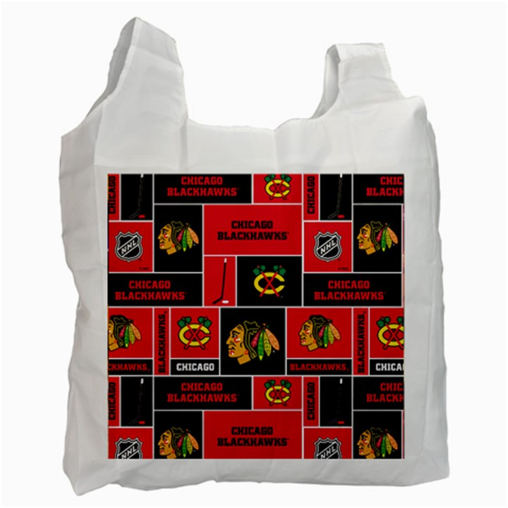 Chicago Blackhawks Nhl Block Fleece Fabric Recycle Bag (Two Side)