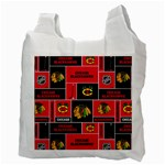 Chicago Blackhawks Nhl Block Fleece Fabric Recycle Bag (Two Side)  Back
