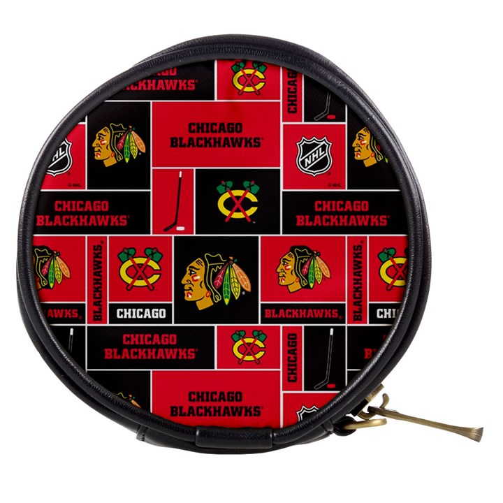 Chicago Blackhawks Nhl Block Fleece Fabric Mini Makeup Bags