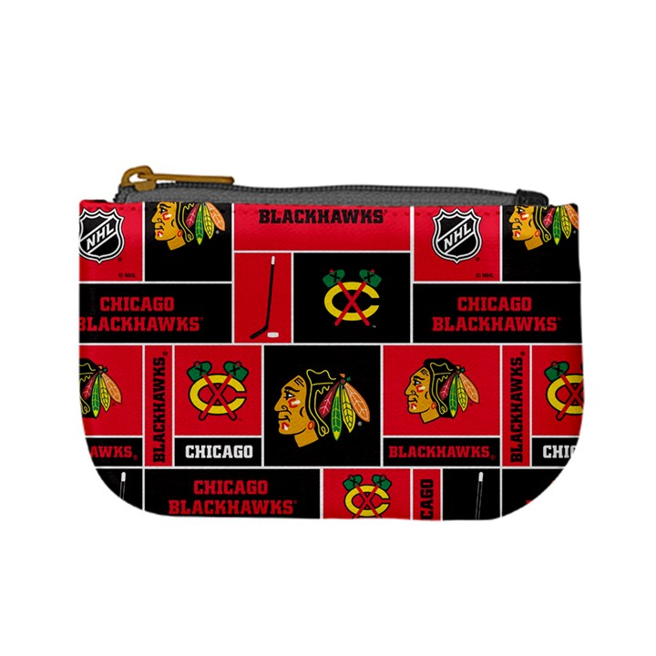 Chicago Blackhawks Nhl Block Fleece Fabric Mini Coin Purses