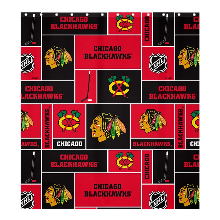 Chicago Blackhawks Nhl Block Fleece Fabric Shower Curtain 66  x 72  (Large)