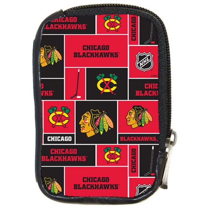 Chicago Blackhawks Nhl Block Fleece Fabric Compact Camera Cases