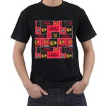 Chicago Blackhawks Nhl Block Fleece Fabric Men s T-Shirt (Black) Front