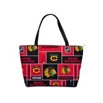 Chicago Blackhawks Nhl Block Fleece Fabric Shoulder Handbags Front