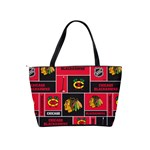 Chicago Blackhawks Nhl Block Fleece Fabric Shoulder Handbags Back