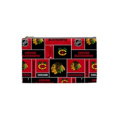 Chicago Blackhawks Nhl Block Fleece Fabric Cosmetic Bag (small)