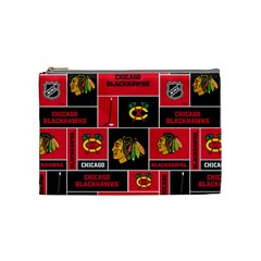 Chicago Blackhawks Nhl Block Fleece Fabric Cosmetic Bag (Medium)