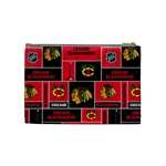 Chicago Blackhawks Nhl Block Fleece Fabric Cosmetic Bag (Medium)  Back