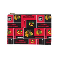 Chicago Blackhawks Nhl Block Fleece Fabric Cosmetic Bag (Large)