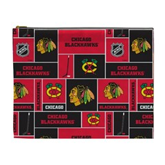 Chicago Blackhawks Nhl Block Fleece Fabric Cosmetic Bag (XL)