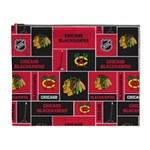 Chicago Blackhawks Nhl Block Fleece Fabric Cosmetic Bag (XL) Front