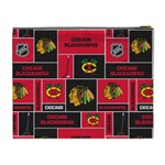 Chicago Blackhawks Nhl Block Fleece Fabric Cosmetic Bag (XL) Back