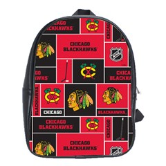 Chicago Blackhawks Nhl Block Fleece Fabric School Bags(Large)