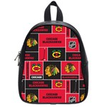 Chicago Blackhawks Nhl Block Fleece Fabric School Bags (Small)  Front