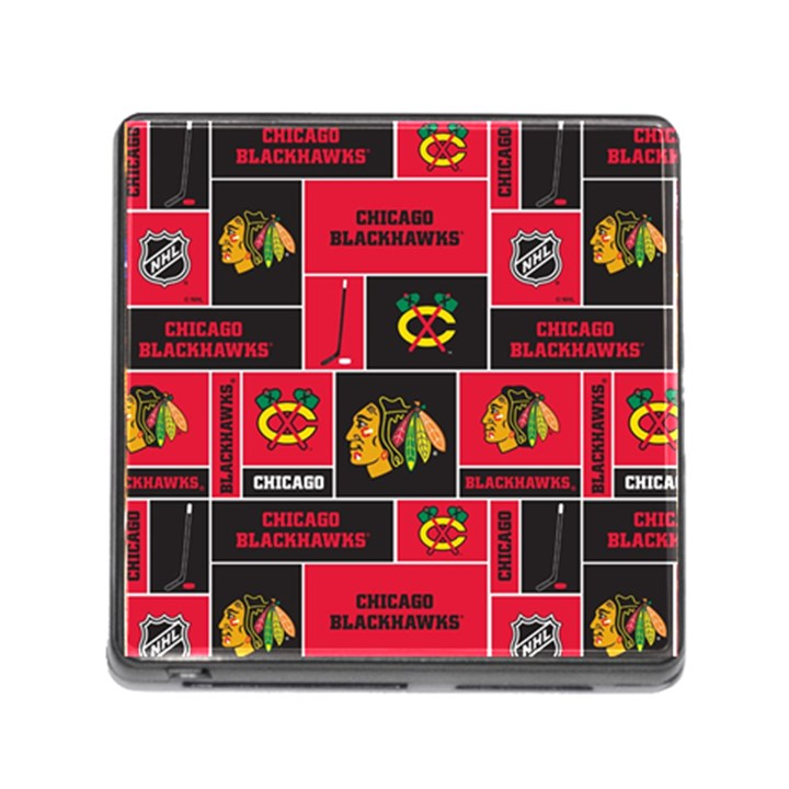 Chicago Blackhawks Nhl Block Fleece Fabric Memory Card Reader (Square)