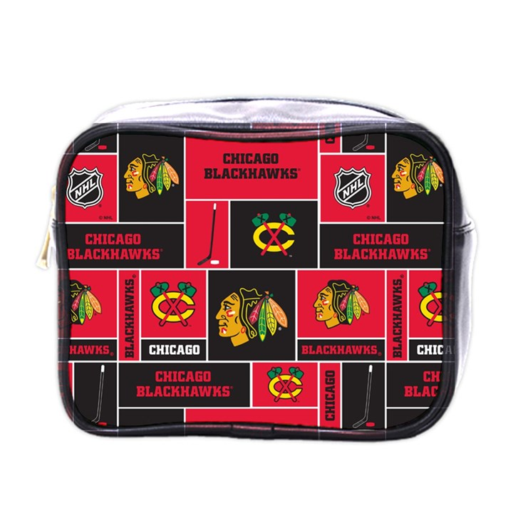 Chicago Blackhawks Nhl Block Fleece Fabric Mini Toiletries Bags