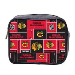 Chicago Blackhawks Nhl Block Fleece Fabric Mini Toiletries Bag 2-Side