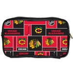 Chicago Blackhawks Nhl Block Fleece Fabric Toiletries Bags Front