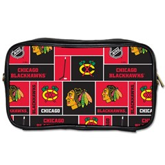 Chicago Blackhawks Nhl Block Fleece Fabric Toiletries Bags 2 Side