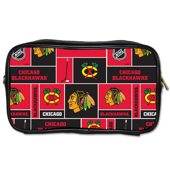 Chicago Blackhawks Nhl Block Fleece Fabric Toiletries Bags 2-Side