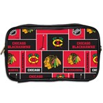 Chicago Blackhawks Nhl Block Fleece Fabric Toiletries Bags 2-Side Back