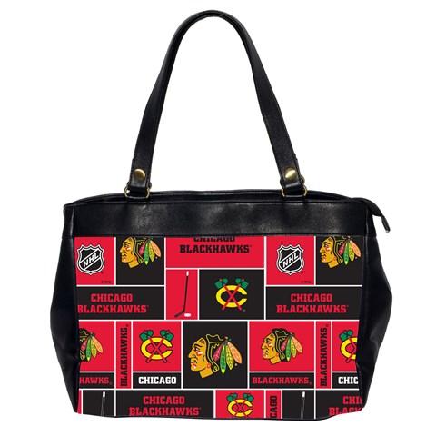 Chicago Blackhawks Nhl Block Fleece Fabric Office Handbags (2 Sides)